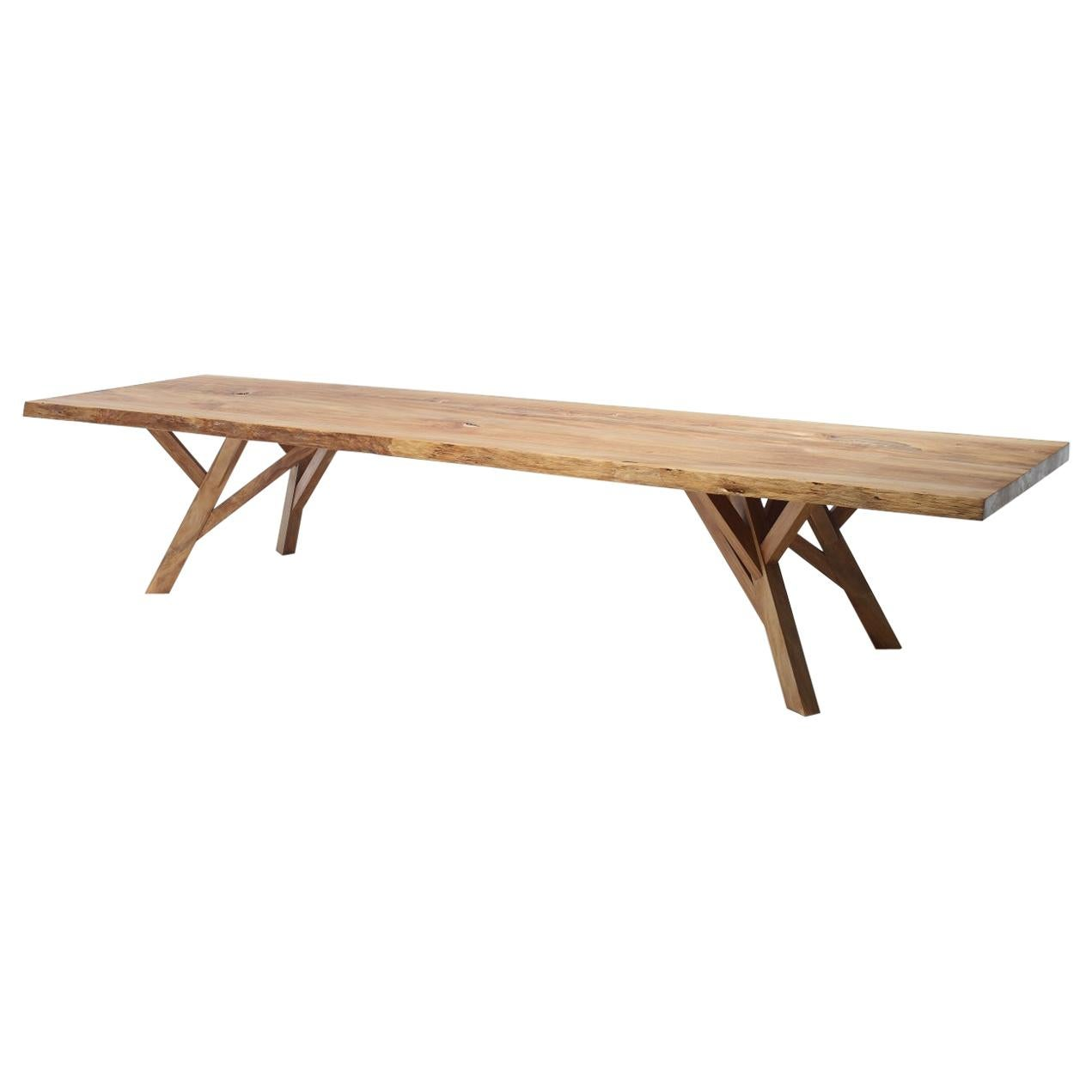 Modern Organic Live Edge Slab Canopy Table Made from Sustainable Ancient Wood