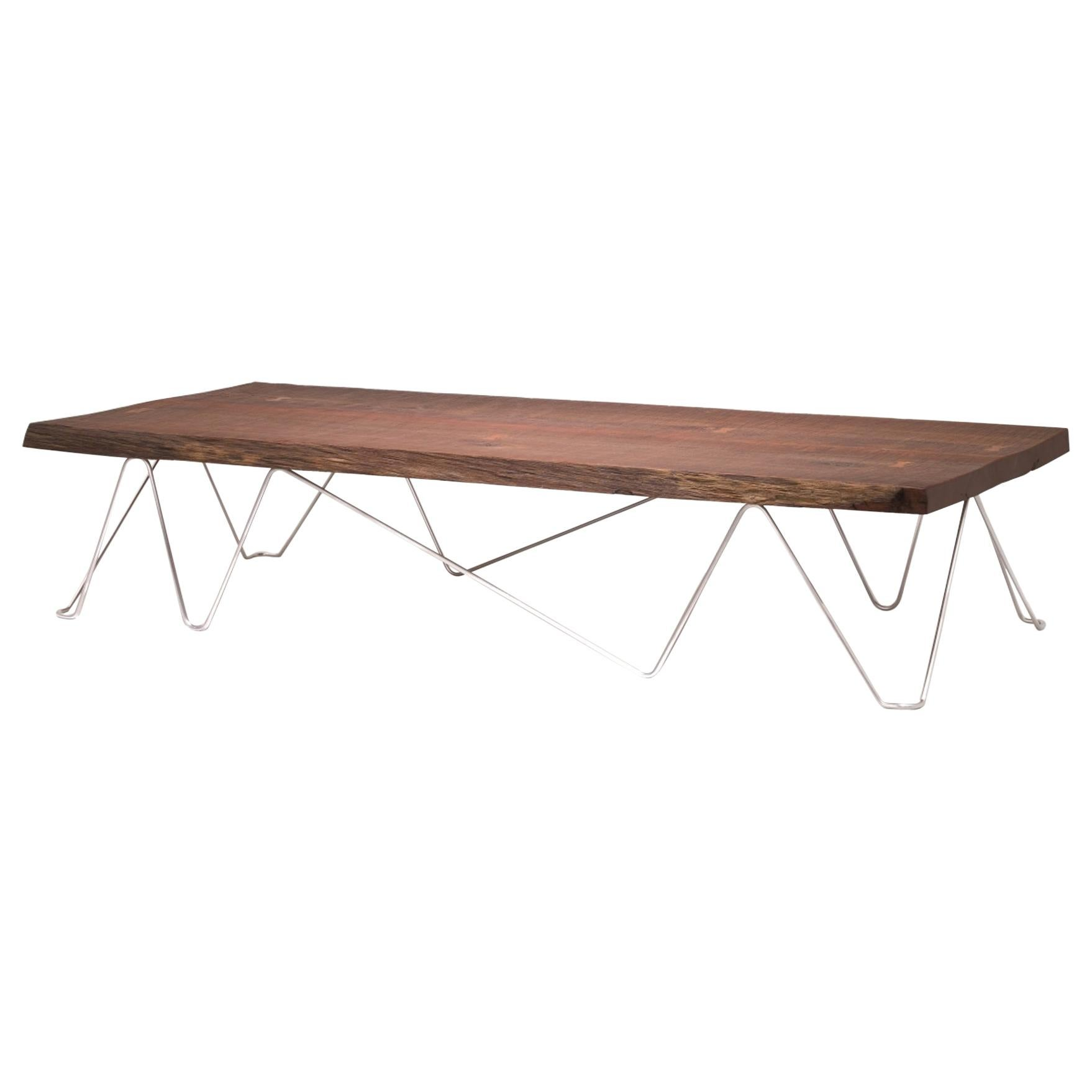 Modern Organic Live Edge Slab Reflect Coffee Table made from Ancient Wood