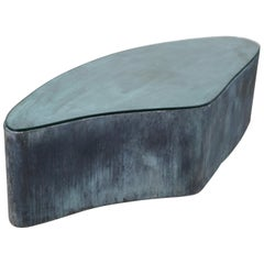 Modern Organic Shaped Steel Brutalist Cocktail Table with Incredible Patina