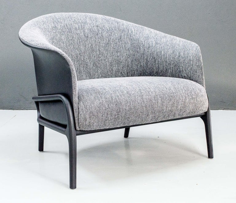 Modern Organic Style Armchair and Foot Stool in Solid Wood, Upholstered Seating In New Condition For Sale In Sao Paolo, SP