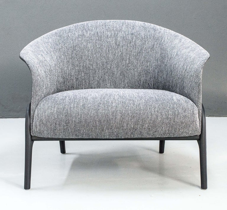 Contemporary Modern Organic Style Armchair and Foot Stool in Solid Wood, Upholstered Seating For Sale