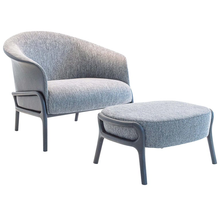 Modern Organic Style Armchair and Foot Stool in Solid Wood, Upholstered Seating For Sale