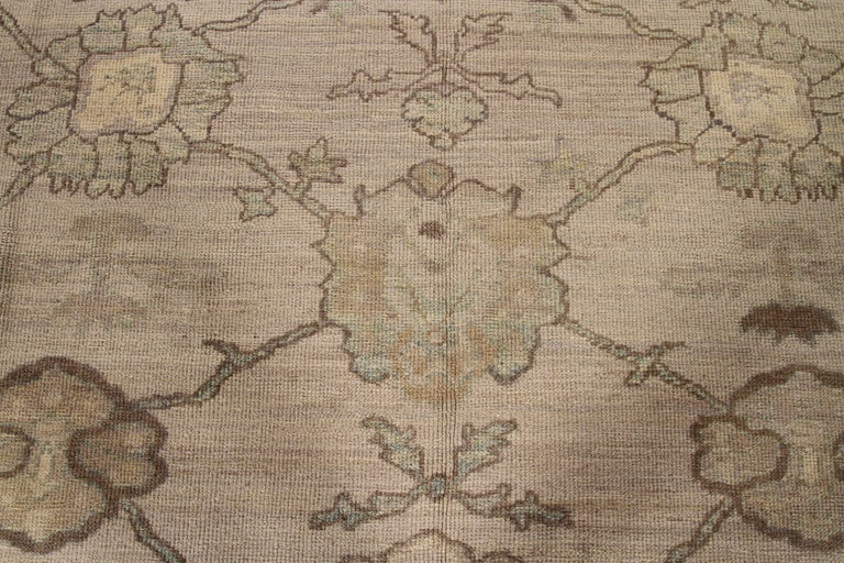 Hand-Knotted Modern Oushak Persian Rug with Large Floral Medallions in Ivory and Blue For Sale