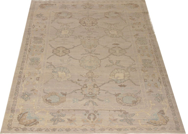 Modern Oushak Persian Rug with Large Floral Medallions in Ivory and Blue For Sale 2