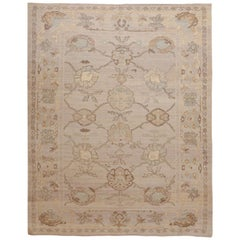 Modern Oushak Persian Rug with Large Floral Medallions in Ivory and Blue