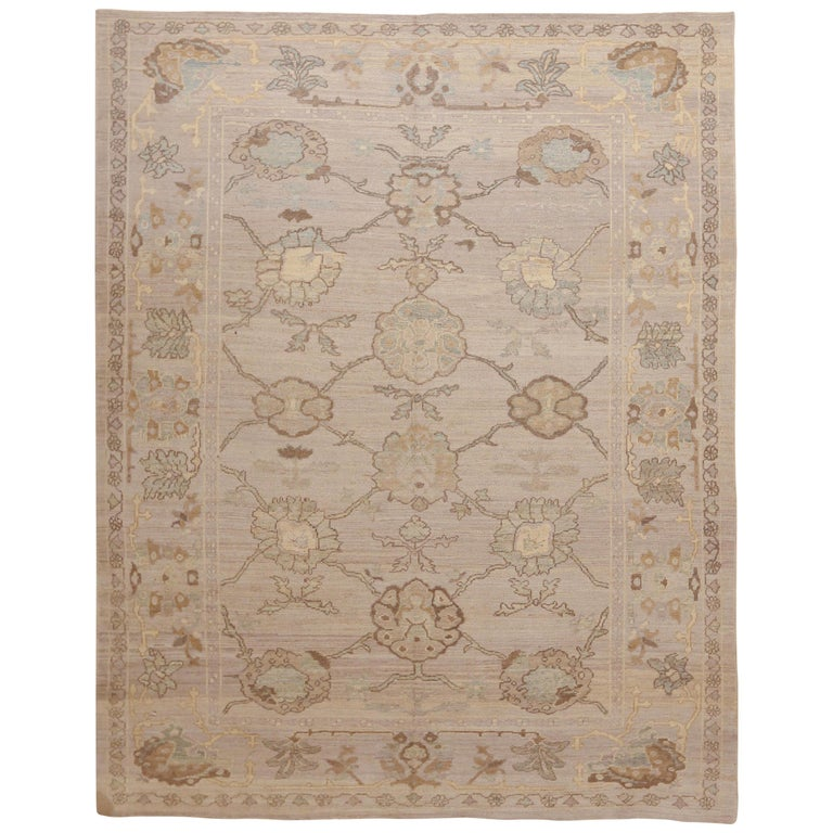 Modern Oushak Persian Rug with Large Floral Medallions in Ivory and Blue For Sale