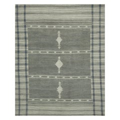 Modern Oushak Rug with Striped Ivory Gray Field and Geometric Patterns