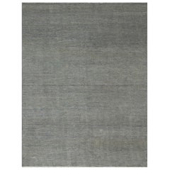 Modern Oushak Rug with Unique 'Invisible' Floral Details in Gray on Beige Field