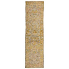 Modern Oushak Runner Rug from Turkey with Gold and Beige Floral Patterns
