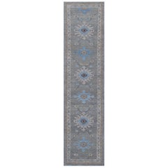 Modern Oushak Runner Rug with Large Flower Medallions in Blue and Beige