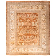Modern Oushak Style Copper and Beige Silk Rug