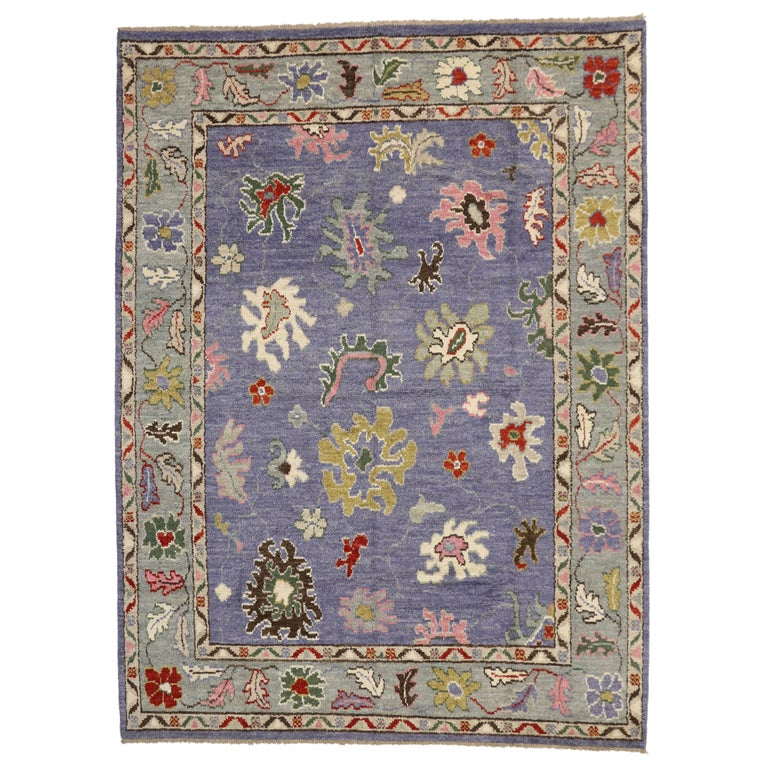 Modern Oushak Rug: Modern Oushak Style Rug With Bright Colors, Contemporary