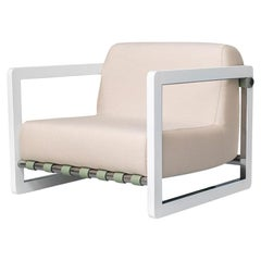 Modern Outdoor Armchair Stainless Steel White Waterproof Fabric Beige