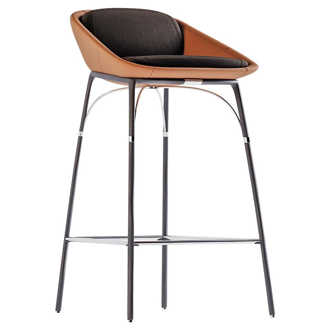 Modern Outdoor Bar Chair Stainless Steel Black Waterproof Leather
