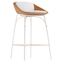Modern Outdoor Bar Chair Stainless Steel White Waterproof Leather