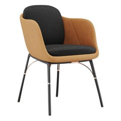 Modern Outdoor Dining Armchair Stainless Steel Black  Waterproof Leather