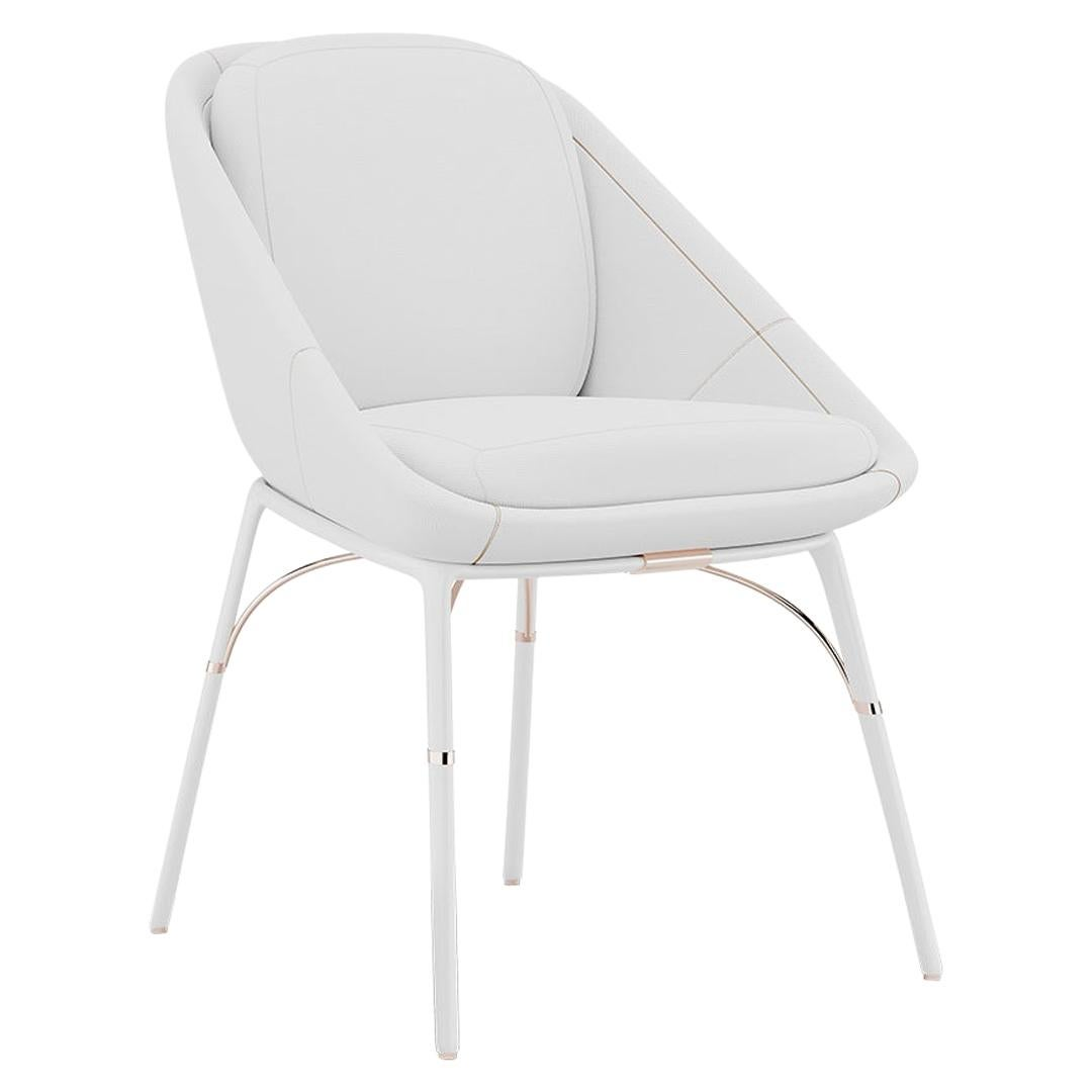Modern Outdoor Dining Armchair Stainless Steel White Waterproof Leather