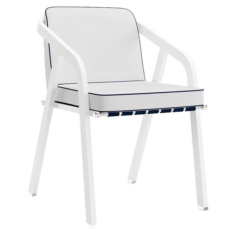 Modern Outdoor Dining Chair Leather Straps Navy Blue Stainless Steel White
