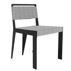 21th Century Modern Outdoor Five-Leg Dining Chair Black & White Pattern Fabric