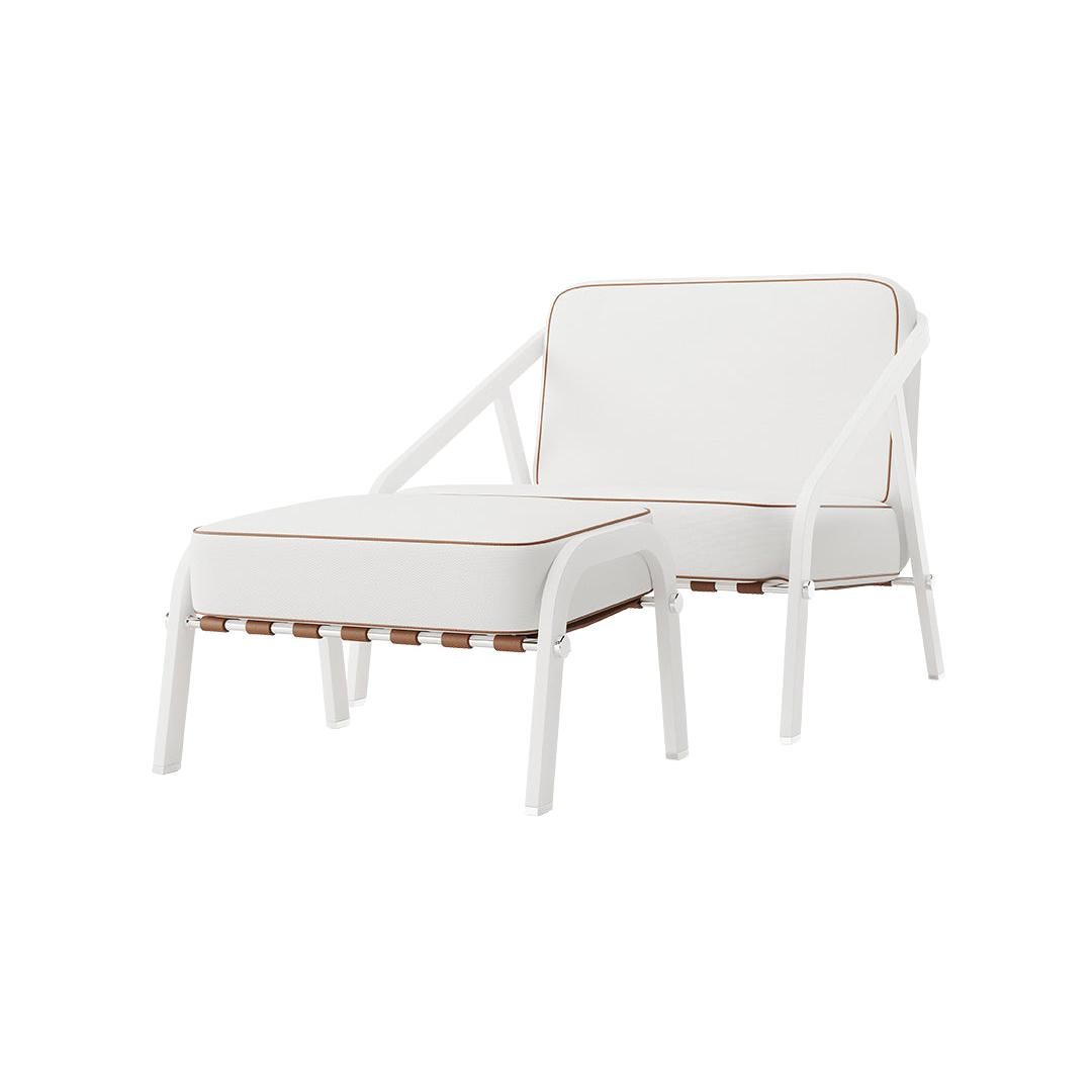 Modern Outdoor Lounge Armchair Leather White Straps Brown Stainless Steel