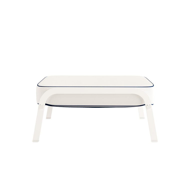 Ribbon, outdoor ottoman Contemporary outdoor dining chair made with structure: white lacquered aluminum, metallic details: nickel-plated, upholstery: acrylic fabric, pipping: outdoor synthetic leather, straps: outdoor synthetic leather  Due to