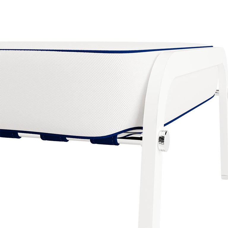 Modern Outdoor Ottoman Leather Straps Navy Blue Stainless Steel White In New Condition For Sale In Vila Nova de Gaia, PT