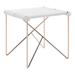 Modern Outdoor Side Table Stainless Steel with Copper Plated Legs