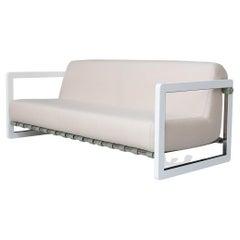 Modern Outdoor Sofa Stainless Steel White Waterproof Fabric White