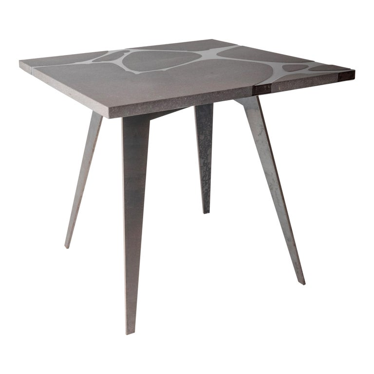 Italian Modern Outdoor Square Table in Lava Stone and Steel, Venturae v1, Filodifumo For Sale