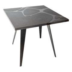 Modern Outdoor Square Table in Lava Stone and Steel, Venturae v1, Filodifumo
