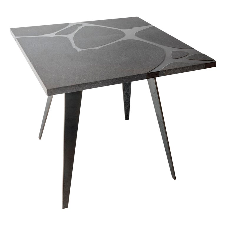 Modern Outdoor Square Table in Lava Stone and Steel, Venturae v1, Filodifumo For Sale