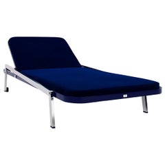 Modern Outdoor Sunbed Waterproof Blue Fabric Aluminium Nickel Plated Legs