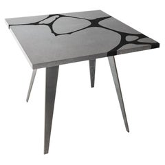 Modern Outdoor Table in Lava Stone and Steel, Venturae v1 black, Filodifumo