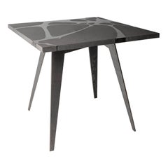 Modern Outdoor Table in Lava Stone and Steel, Venturae v2, Filodifumo