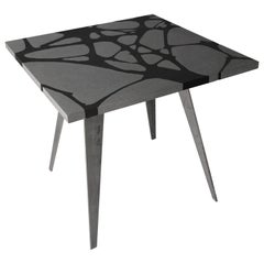 Modern Outdoor Table in Lava Stone and Steel, Venturae v3 black, Filodifumo