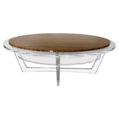 Modern Oval Acrylic And Zebra Wood Cocktail Table . In Stock