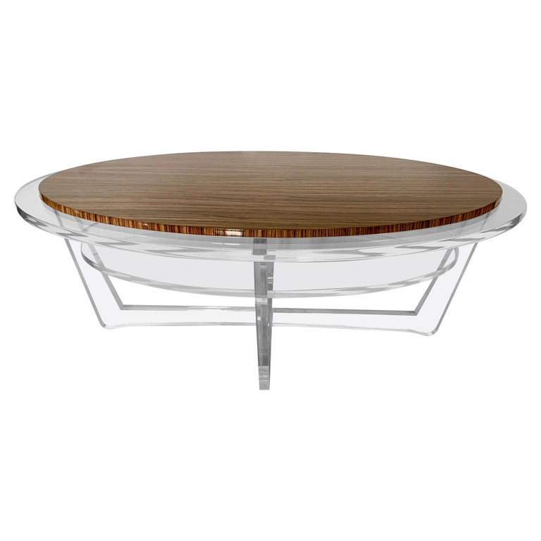 Modern Oval Acrylic And Zebra Wood Tail Table In Stock
