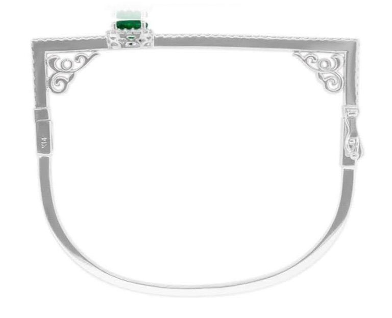 Contemporary Modern Oval Emerald and Round Diamond Halo Square Bangle Bracelet 14K White Gold For Sale