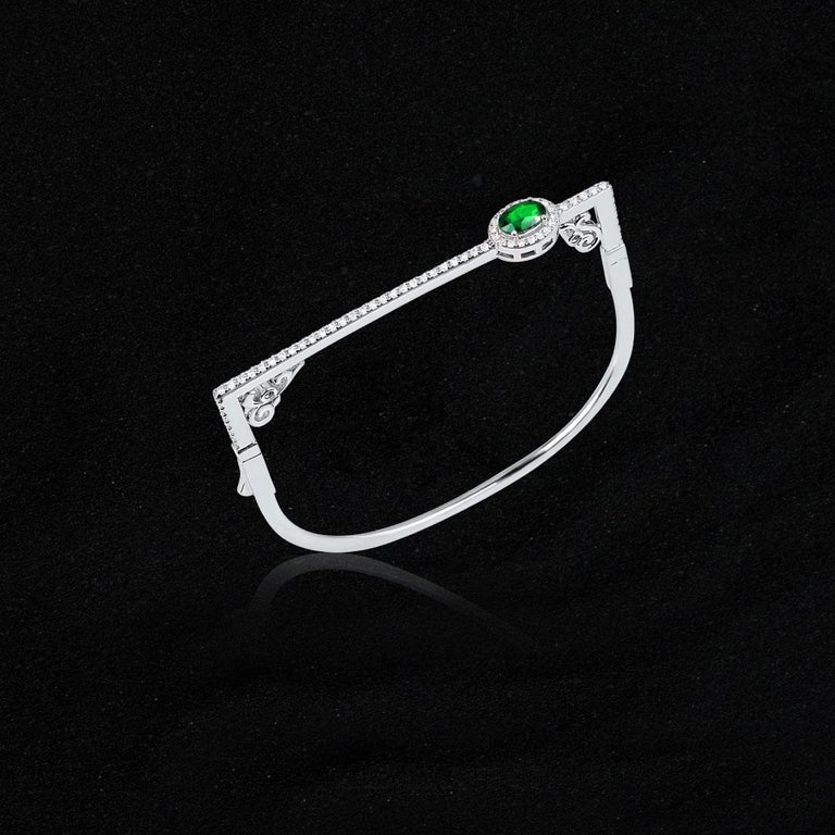 Oval Cut Modern Oval Emerald and Round Diamond Halo Square Bangle Bracelet 14K White Gold For Sale