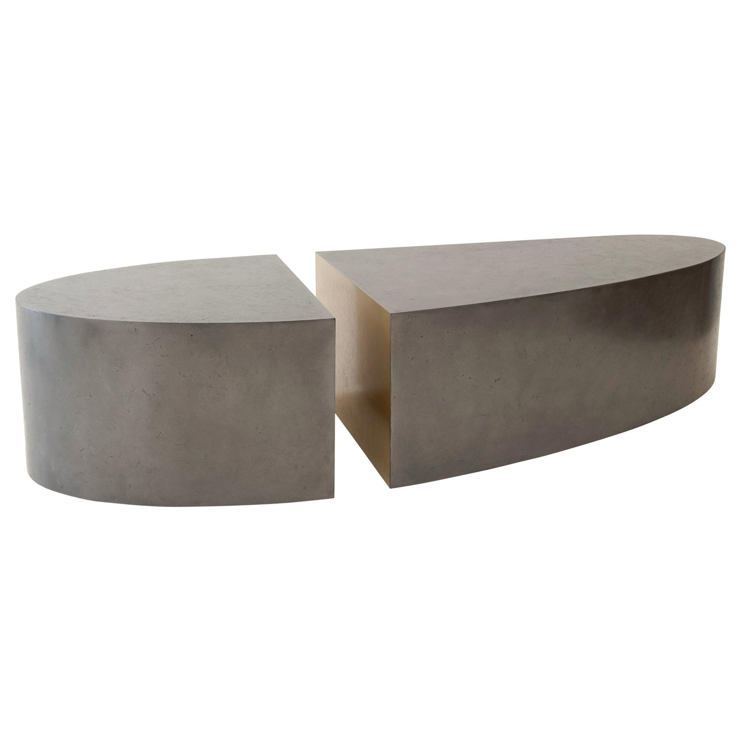 """Modern Oval Low Coffee-Cocktail Table Cast in OMG Black and Brass Metal """"SOUL"""""""