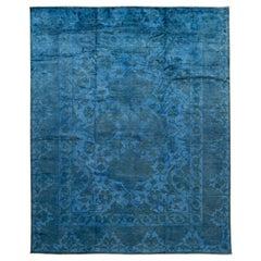 Modern Overdyed Handmade Blue Wool Rug