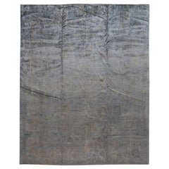 Modern Overdyed Handmade Gray Wool Rug