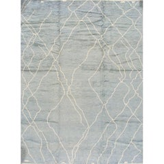 Modern Oversize Blue and Ivory Moroccan-Style Rug