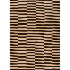 Modern Oversize Brown and Tan Geometric Striped Kilim Rug