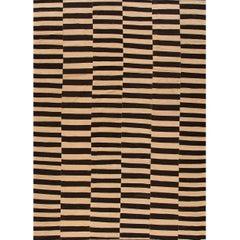 Modern Oversize Brown and Tan Geometric Striped Kilim Rug