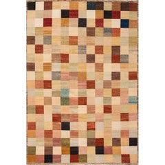 Modern Oversize Multicolored Geometric Indian Gabbeh Rug