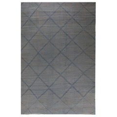 Modern Oversized Blue and Gray Deux Diamond Hand Knotted Wool Rug
