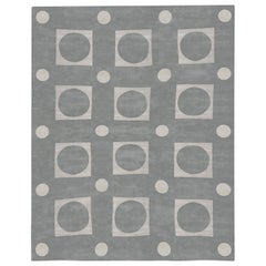 Modern Oversized Geometric Gray and White Hand Knotted Silk Rug