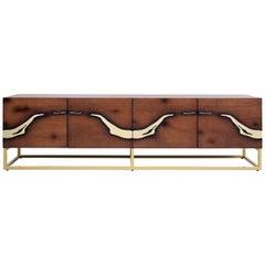 Modern Oxara North TV Stand in Oak, Brass, by Railis Design