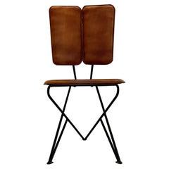 Modern Pablex Iron & Leather Tripod Chair Pablo Romo for Ambianic Midcentury Era